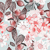 Autumn floral, grapes and camomile, seamless pattern.