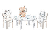 Watercolor sketch with teddy bear, doll, rabbit, dishes and furniture