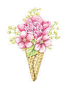 Watercolor red flowers in waffle cone