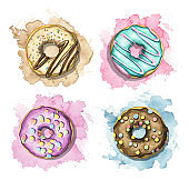 Watercolor set with various multicolor donuts on colorful stains