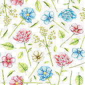 Watercolor seamless pattern with blue and red flowers