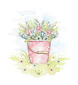 Watercolor rose bucket with spring flowers bouquet