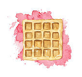Watercolor square wafer on red jam stain