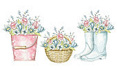 Watercolor set with bucket, wicker basket and gumboots with floral bouquet