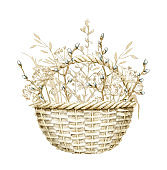 Watercolor wicker basket with bouquet with branches and dry herbs