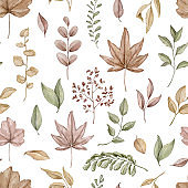 Watercolor seamless pattern with autumn varied leaves and plants
