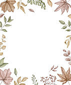 Watercolor rectangular frame with autumn varied leaves and plants