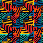 Bright modern seamless pattern. Geometric pop art style surface print. Repeated diagonal striped geo shapes motif