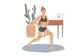 Woman does lunges with a rubber loop resistance band. Exercises for the legs and buttocks at home.