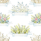 Watercolor seamless pattern with Easter floral bouquets and banners ribbons