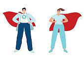 Doctor super hero. Medic superhero. Fight pandemic of covid19 coronavirus