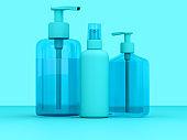 Blue toned Hand Sanitizer Bottles