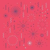 Fireworks lineal easy editable set with petard, stars