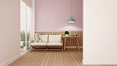 Kid room or living room on white pink wall and wood walll decorate in nursery or apartment  - Room simple design artwork of kid room or home - 3D Rendering