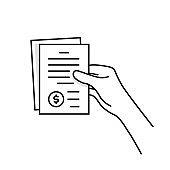 black thin line hand holding invoice