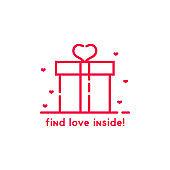 find love inside pink gift box