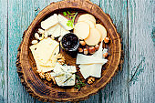 Cheese platter on wooden tray