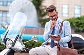 Handsome businessman portrait outdoor.