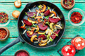 Grilled salad with beets and mushrooms