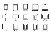 Vector line icons collection of advertisement.