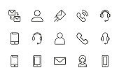 Stroke line icons set of contact us.