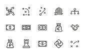 Simple set of business strategy modern thin line icons.