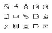 Modern thin line icons set of banking.
