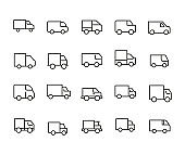Truck line icons set.