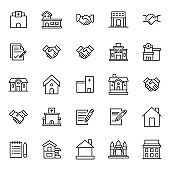 Simple set of real estate modern thin line icons.