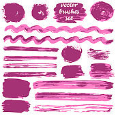 Collection of bicolor paint, ink brush strokes, brushes, lines, grungy