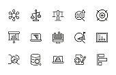 Big set of analytics line icons.