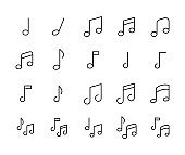 Stroke line icons set of music note.