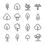 Modern thin line icons set of tree.
