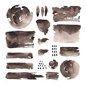 Hand painted watercolor abstract brown objects