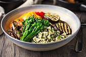 Healthy Vegan rice salad and grilled vegetable bowl