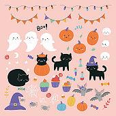 Halloween clipart set with cartoon characters: ghosts, cats, skulls, pumpkins, spiders and bats.