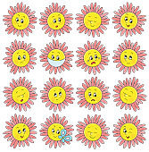 Set of funny flower emoticons