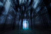 Mystical forest. Glowing neon portal. Neon glow. Gloomy autumn forest. Misty morning in the forest. Fairy Mysterious Forest.