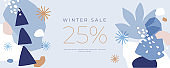 Horizontal banner with holiday discounts. New Year's seasonal sales.
