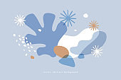 Winter illustration with abstract colorful shapes and snowflakes.