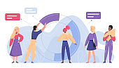 Business development analysis flat character flat vector illustration concept with radial plot