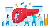 Doctors scientists people in laboratory researches liver organ healthcare medical concept flat vector illustration. Hepatitis, cirrhosis, cancer awareness, determine diagnosis disease treatment