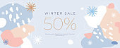 Horizontal banner with holiday discounts. Winter abstract pattern. Chaotic spots with natural colorful shapes.