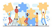 People connect puzzles, cartoon happy young team of characters connecting puzzle pieces together