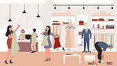 People shopping in clothing store vector illustration. Cartoon flat man woman customer characters standing and trying new fashion casual dress clothes in boutique or shop showroom interior background.