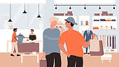 Fashion discount sales flat vector illustration, cartoon friends characters shopping with bags, client man buyer buying new clothes in clothing retail shop