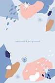 Winter abstract pattern. A collection of chaotic spots with natural colorful shapes.