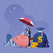 Businesswoman with umbrella protecting money from economic problems