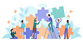 Teamwork, startup character flat vector illustration business concept with giant puzzle