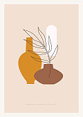 Trendy composition exotic leaves and abstract vases for home decor, greeting card designs, invitation.